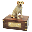 Wholesale Yellow Labrador Retriever figurine urn with engraved plaque