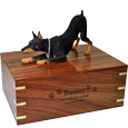 Wholesale Doberman Pinscher wood urn with engraved name