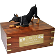 Wholesale Doberman Pinscher wood urn with engraved plaque
