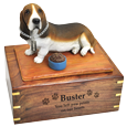 Basset Hound dog urn engraved with black