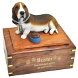 Basset Hound dog urn engraved with gold
