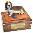 Basset Hound dog urn with engraved plaque