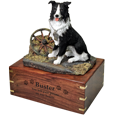 Border Collie dog figurine wood urn
