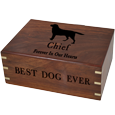 Black-filled engraving on Wooden Box Dog Urn Large