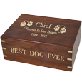 Gold-filled engraving on Wooden Box Dog Urn Large