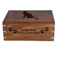 Engraving shown directly into front of wood cat urn