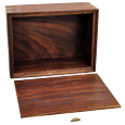 Urn compartment shown of wood pet urn