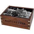 Perfect Wooden Box Cat Urn with Photo Tile with black fill
