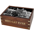 Wooden Box Cat Urn with Photo Tile with gold fill