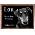 Tile sample shown of Perfect Wooden Box Dog Urn with Photo Tile