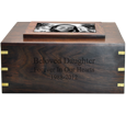 Engraving shown directly into front of Perfect Wooden Box Photo Frame Urn