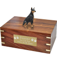 Sitting Doberman Pinscher wood urn with engraved plaque