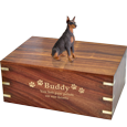 Doberman Pinscher, Red Sitting Ears Up dog urn engraved with gold