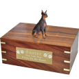 Red Doberman Pinscher wood urn with engraved plaque