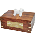bichon frise figurine extra large wood urn with large plaque