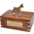 Boxer dog figurine on extra large wood urn base with plaque