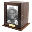 Photo Wood Full-size Square Urn with black and white photo