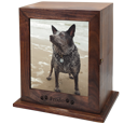 wood urn with photo display and engraving directly into wood