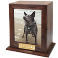wood urn with photo display and engraved plaque