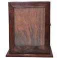 front view of wood urn with photo frame