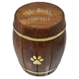 Paw Print Wood Barrel Pet Urn shown with gold-filled engraving