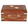 Forever Paw Prints Wooden Box Pet Urn shown with gold filled engraving