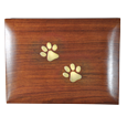 Paw prints detail shown on top of wood pet urn