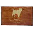 Dog silhouette engraving shown with gold fill on wood pet urn
