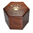 Paw Print Hexagon Wood Pet Urn shown with gold filled engraving