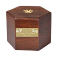 Paw print hexagon wood urn shown with engraved small plaque option