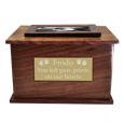 Wholesale Photo Wood Cat Urn front engraved plaque