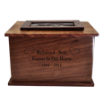 Wholesale Photo Wood Urn with black filled engraved front