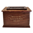Wholesale Photo Wood Urn with gold filled engraved front