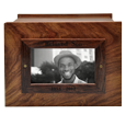 Wholesale Photo Wood Urn with black-filled engraving