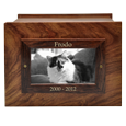 Wholesale Photo Wood Cat Urn top frame engraved in gold