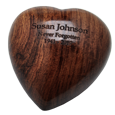 Wholesale Wooden Keepsake Heart in walnut finish shown engraved