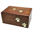 Wholesale Pet Urns: Paw Prints Wood Urn with black-filled engraving