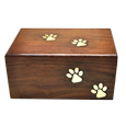 Wholesale Pet Urns: Paw Prints Wood Urn front