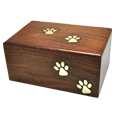 Wholesale Pet Urns: Paw Prints Wood Urn