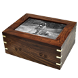 Wood box pet urn shown customized holds ashes of a large dog