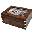 Wholesale Perfect Wooden Box Urn with Photo Frame, Large with black fill