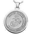 United States Marine Corps emblem Round Military Jewelry in silver