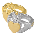 Wholesale Urn Jewelry Claddagh Ring shown in silver and gold metals