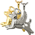 Wholesale Pet Cremation Jewelry Angel Dog shown in silver and gold