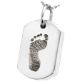 Silver  Dog Tag Footprint Jewelry with compartment