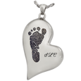 Wholesale B&B Teardrop Heart Footprint with Name Jewelry chamber in silver