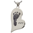 Wholesale B&B Teardrop Heart Footprint with Name Jewelry no chamber silver