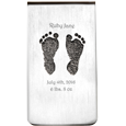 Front view of 2 Baby Feet Footprints Money Clip