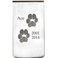 silver money clip with 2 engraved paw prints