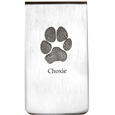 silver money clip with actual engraved paw print